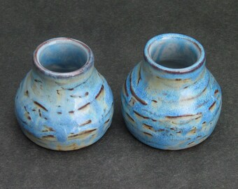 set of two blue shot glasses