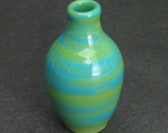 kiwi green and light blue bud vase/weed pot