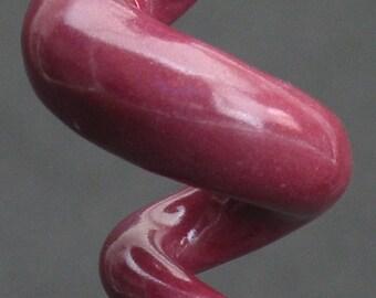squiggly swirl organic maroon ceramic pendant