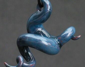 squiggly organic dark turquoise blue ceramic pendant