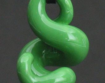 squiggly organic sea foam green ceramic pendant