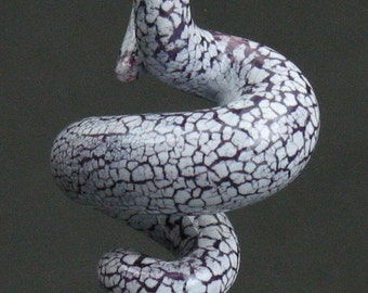 squiggly swirl organic violet and white crackle ceramic pendant