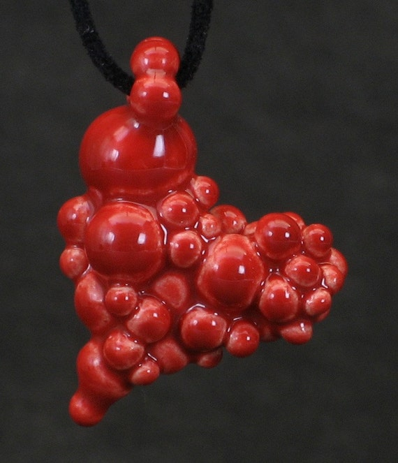 neon red ball heart pendant