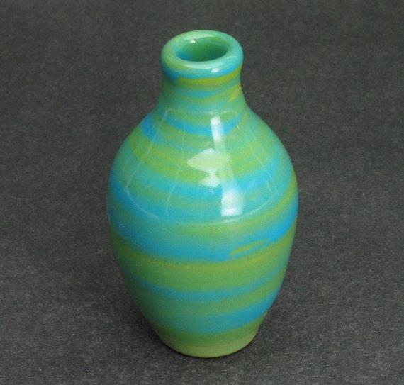 kiwi green and light blue bud vase/weed pot
