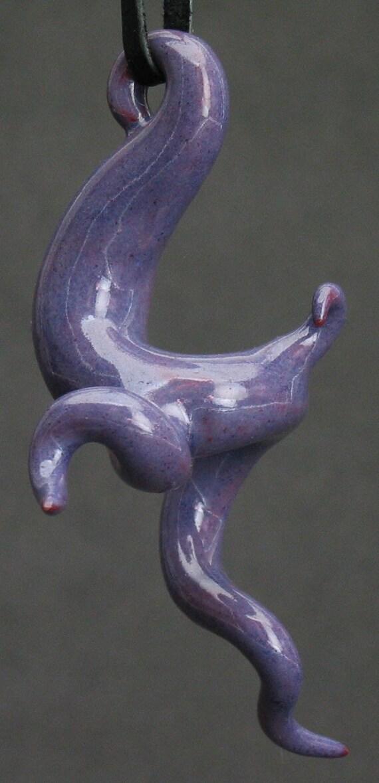 squiggly organic violet ceramic pendant