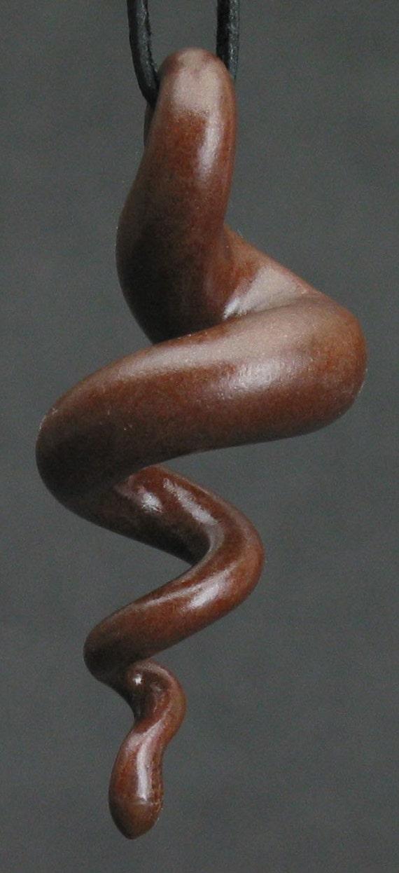 squiggly organic swirl brown ceramic pendant