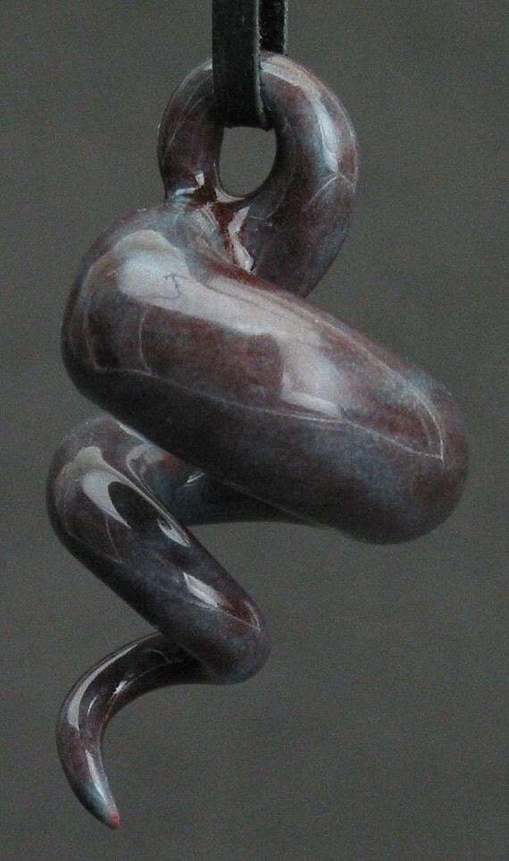 squiggly swirl organic dark violet ceramic pendant