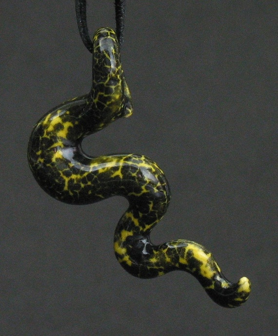 squiggly organic neon yellow and black spotted ceramic pendant