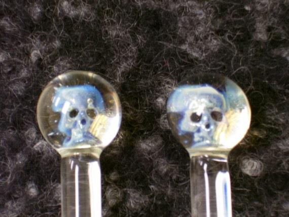 Glass Skull Knitting Needles
