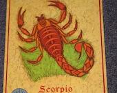 Scorpio - Large Zodiac Birthday Card   vintage