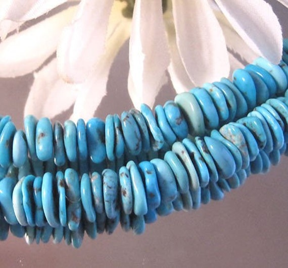 """Bastet's Beads- 5"""" Strand High Quality Blue Turquoise Disks"""