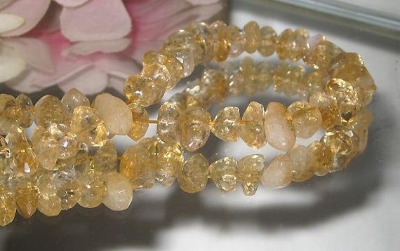 "Desstash- Facet Citrine Side Drill Gemstone Nugget - 3"" Strand-Bastet's Beads-"