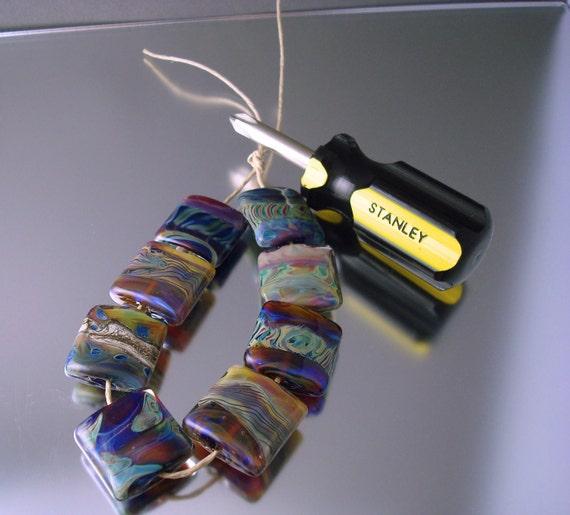 Loribeads - StrikingColor Tiles- handmade glass lampwork focal bead