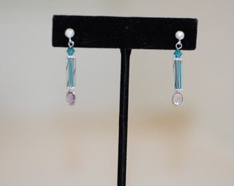 Turquoise Cane Glass Earrings