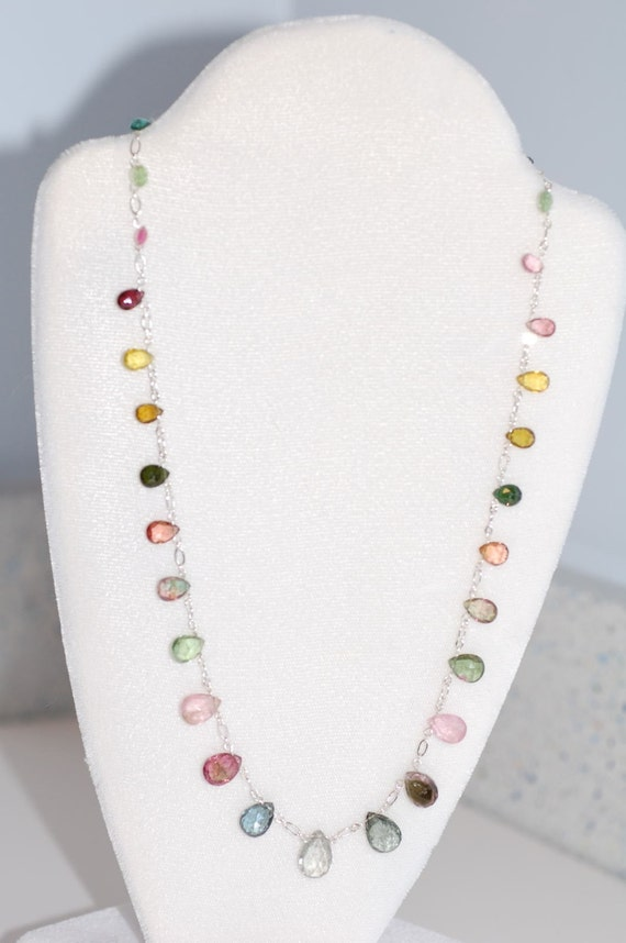 Tourmaline Faceted Drops Necklace