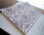 chocolate damask invitation sample