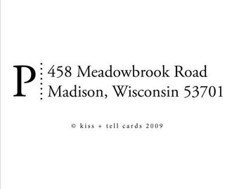 custom address rubber stamp with initial