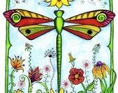 Dragonfly Garden - Color 5x7 Print