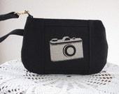 Wristlet Zipper Gadget Pouch Purse in Retro Camera Bag