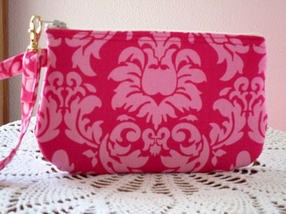Wristlet Zipper Gadget Purse Pouch in Pink Damask