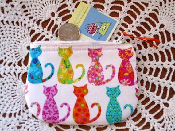 Coin/Business Card Clutch Zipper Case  Colorful Cats