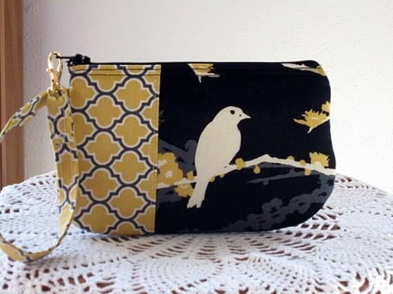 Wristlet Clutch Zipper Gadget Purse Pouch Songbirds