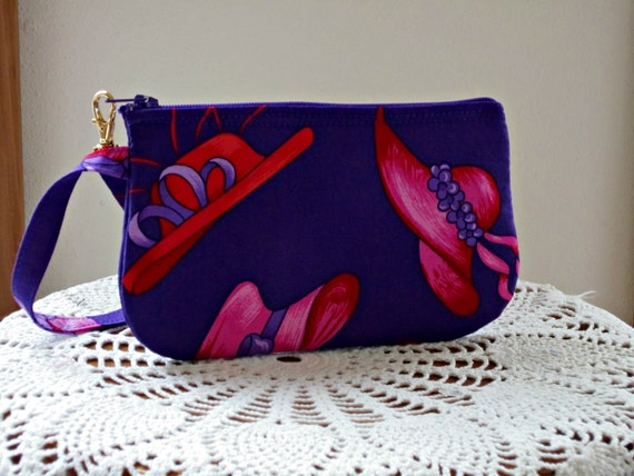 Wristlet  Clutch Gadget Purse Amall Camera Bag in Red Hat Society