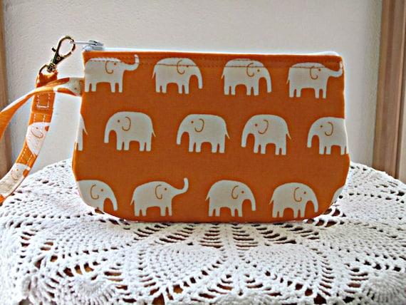 Clutch Wristlet Zipper Gadget Pouch White Elephants on Parade in Orange