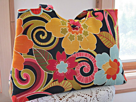 NEW PRICE Handbag Purse Tote Shoulder Bag in  Funky Flowers Vintage Button Made in the USA