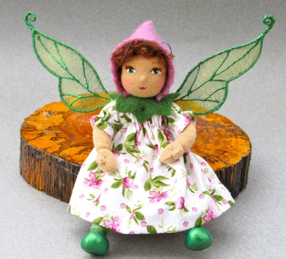 Tiny Cloth Art Doll - Spring Flower Fairy