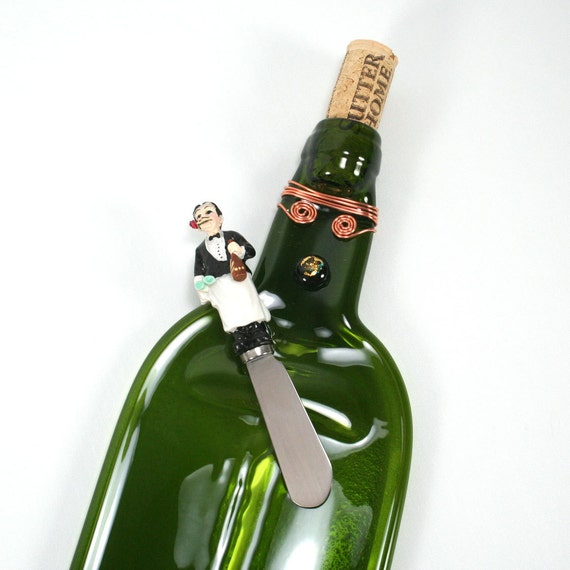 Green Wine Bottle Serving Tray with Cork - Recycled Eco-Friendly