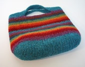 Rainbow Stripe Felted Handbag