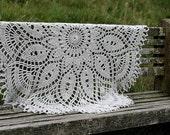 Hand crocheted decorative throw - linen wool