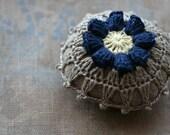 Linen  pincushion - crochet motif -- navy flower
