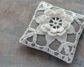 Linen  pincushion - crochet motif -- white