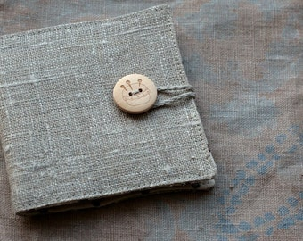 Small Linen Needle Book - Pincushion button