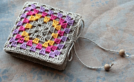 Small Linen Needle Book with Crocheted detail -- Granny Square