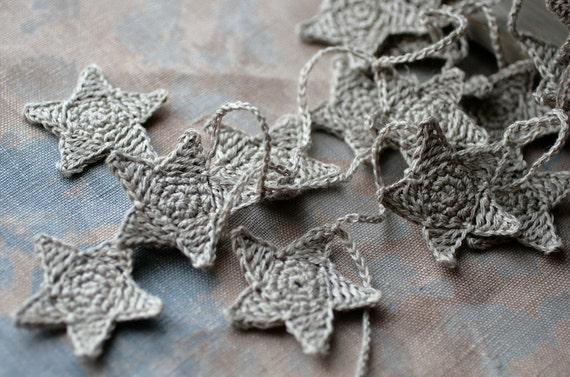 Crochet Garland - Wall Hanging - Small Bunting - Stars garland - natural linen