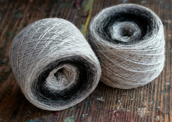 Pure wool knitting yarn - 2 x 100 g -- black, grey