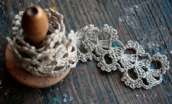 Hand Crocheted Linen Edging, Lace Trim -- natural linen