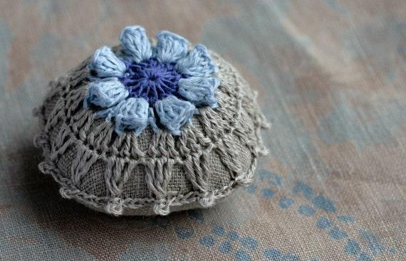 Linen  pincushion - crochet motif --blue