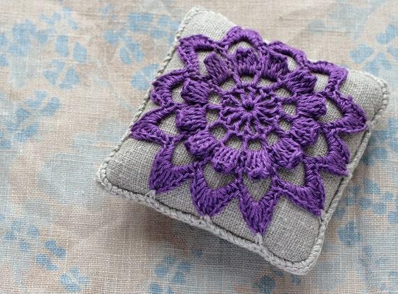 Linen  pincushion - crochet motif -- lilac