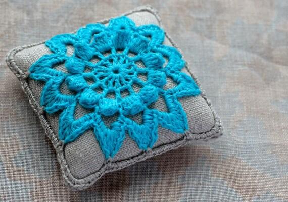 Linen  pincushion - crochet motif -- turquoise