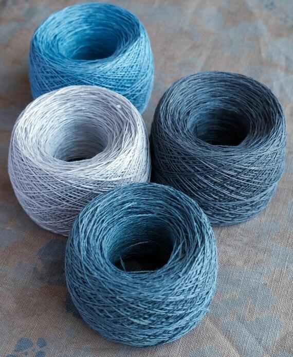 Linen yarn thread -- four balls -- grey, blue