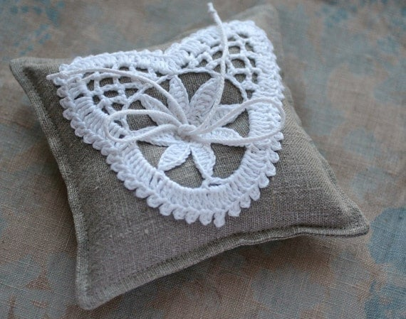 Linen Ring Bearer Pillow in Natural with Hand Crocheted Heart