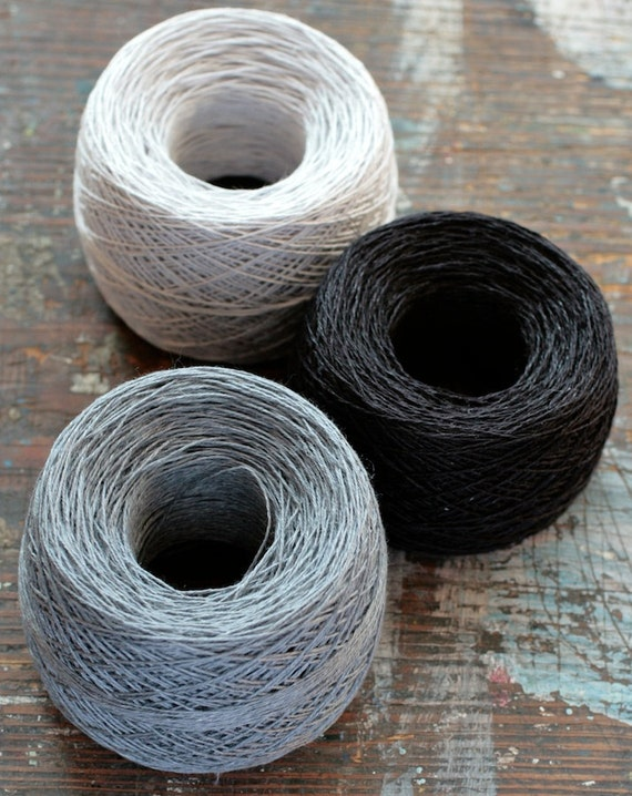 Linen yarn thread -- three balls -- grey, black