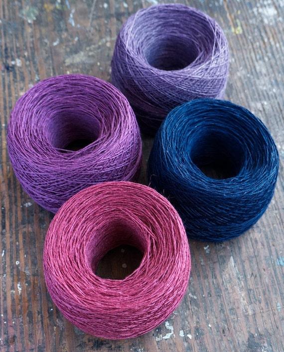 Linen yarn thread -- four balls -- purple, plum, navy