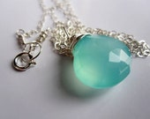 Aqua Chalcedony Necklace by JerseyGirlDesign