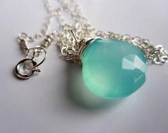 Aqua Chalcedony Necklace by JerseyGirlDesign