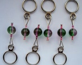 Pink and Green Beaded Stitch Markers -- Set of 6